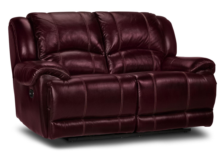 Living Room Furniture - Sinatra Power Reclining Loveseat - Red