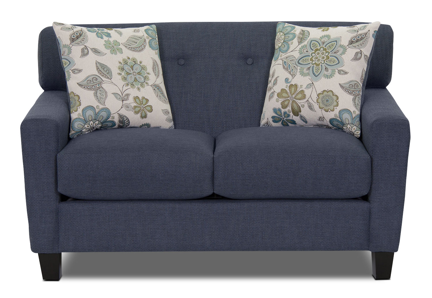 Aubrey Linen-Look Fabric Loveseat - Indigo