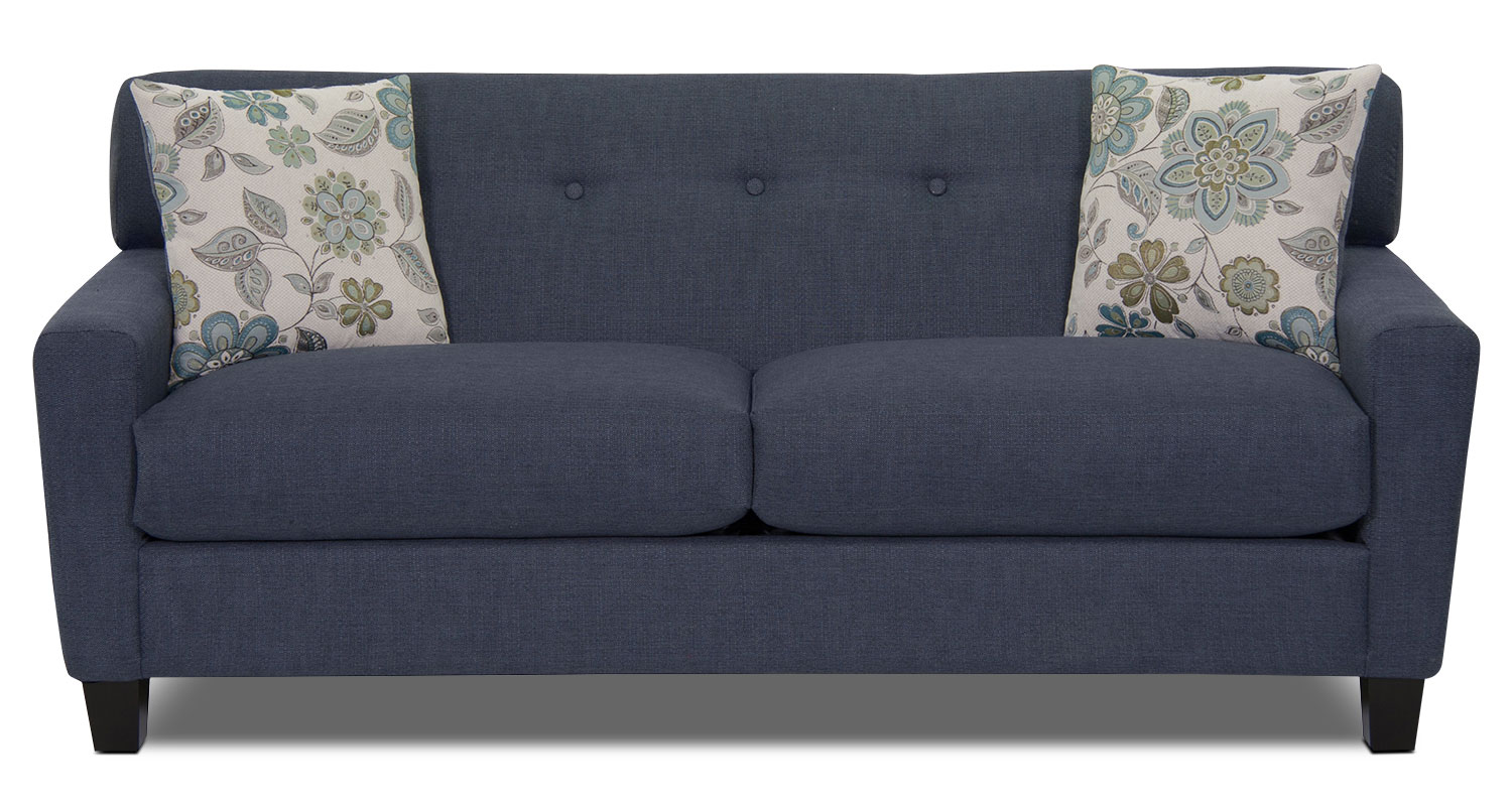 Aubrey Linen-Look Fabric Sofa - Indigo
