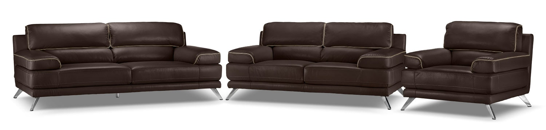 Sutton Sofa, Loveseat and Chair Set - Walnut Brown