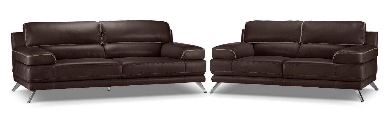 Sutton Sofa and Loveseat Set - Walnut Brown