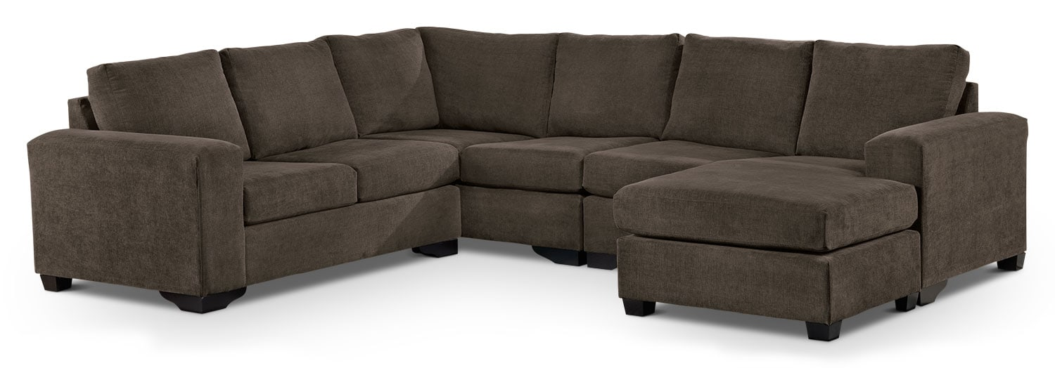 Living Room Furniture - Danielle 3-Piece Sectional with Right-Facing Corner Wedge - Java