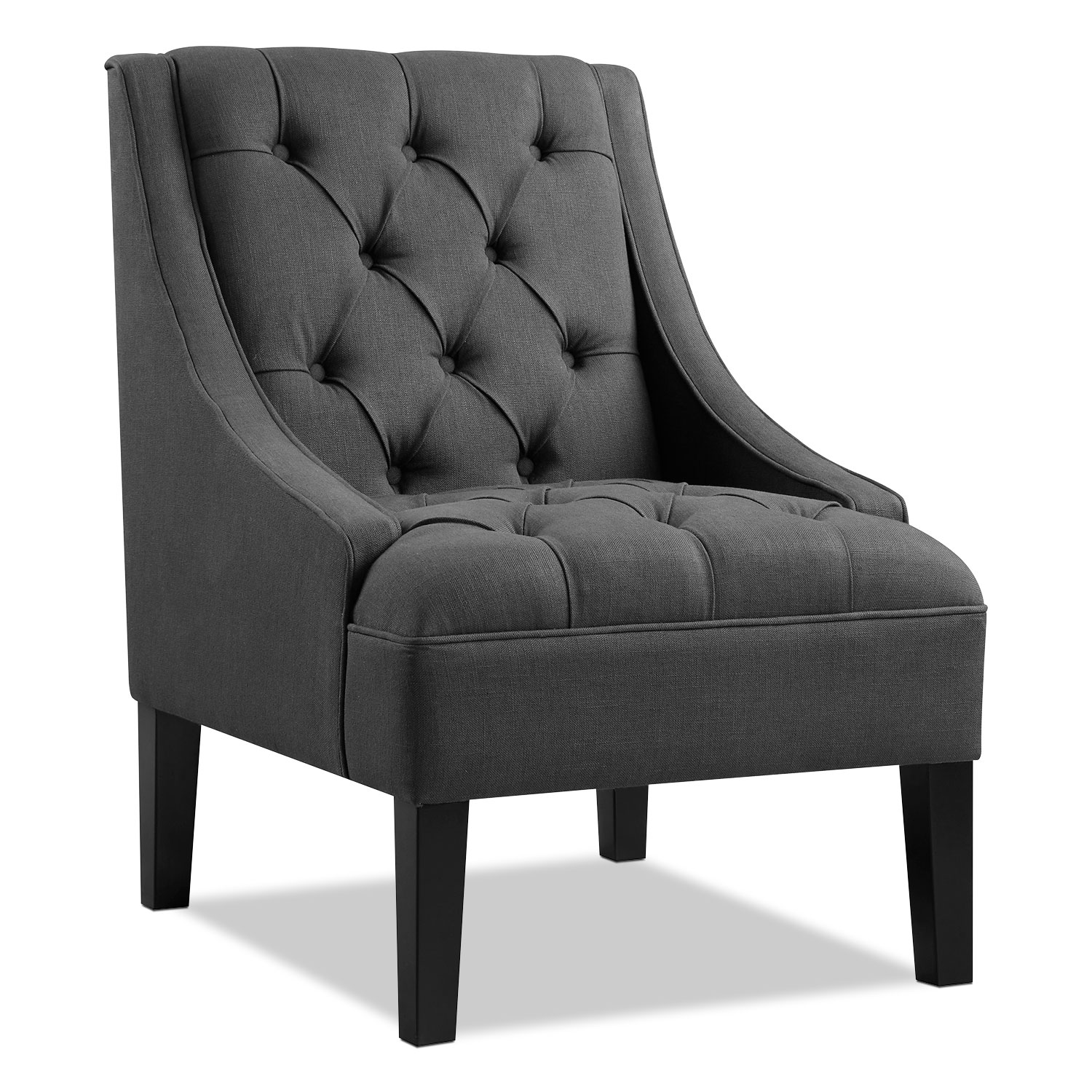 Greylin accent chair gray american signature furniture for Living room with accent chairs