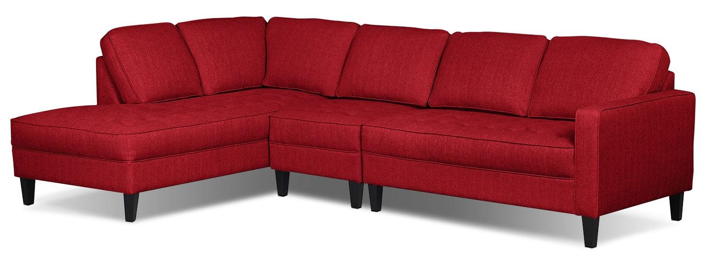 Living Room Furniture - Paris 3-Piece Linen-Look Fabric Left-Facing Sectional – Cherry