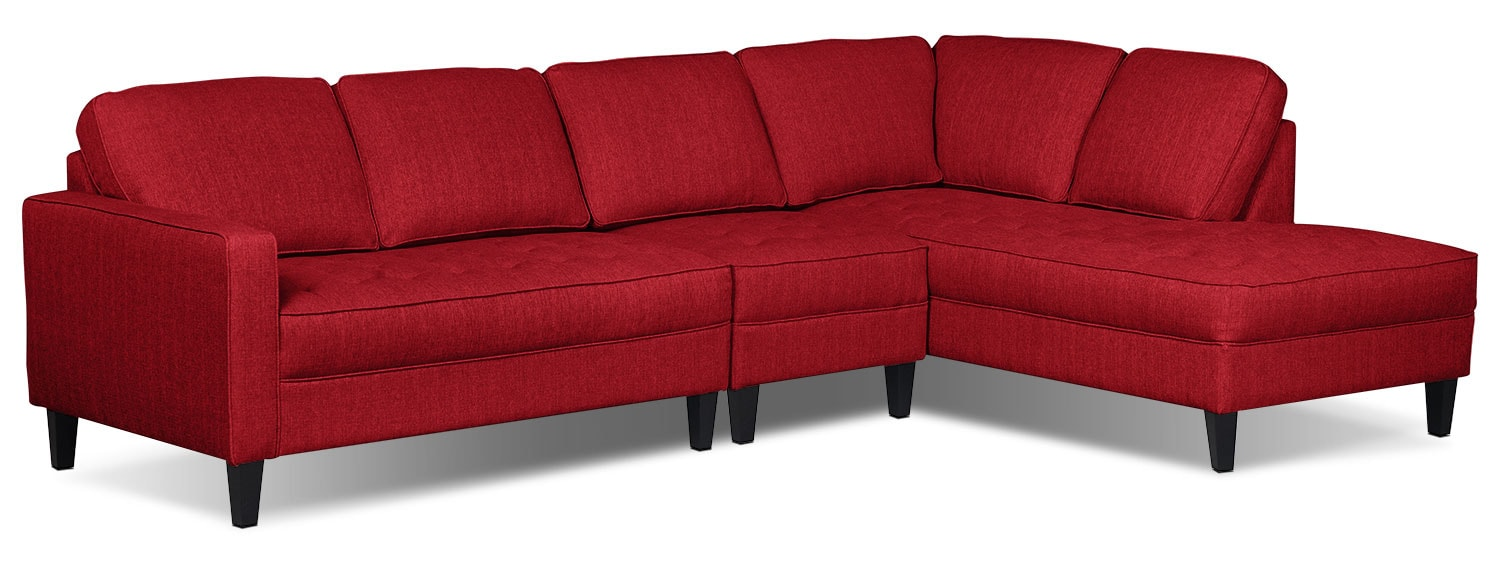 Paris 3-Piece Linen-Look Fabric Right-Facing Sectional – Cherry
