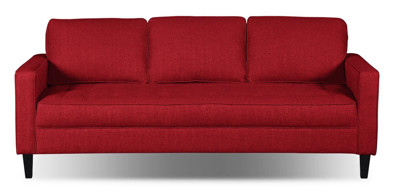Paris Linen-Look Fabric Sofa – Cherry