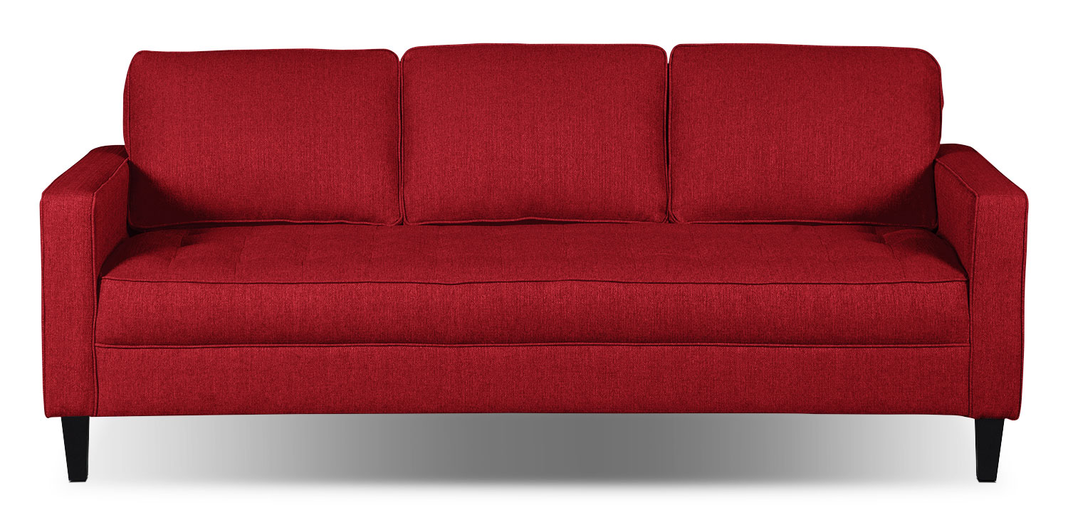 Paris Linen-Look Fabric Sofa – Cherry