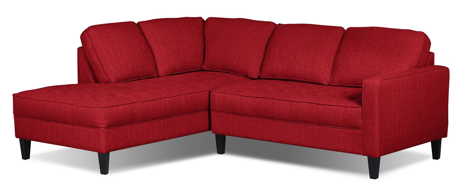 Paris 2-Piece Linen-Look Fabric Left-Facing Sectional – Cherry