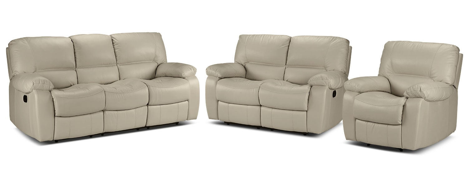 Piermont Reclining Sofa, Reclining Loveseat and Recliner Set - Silver Grey