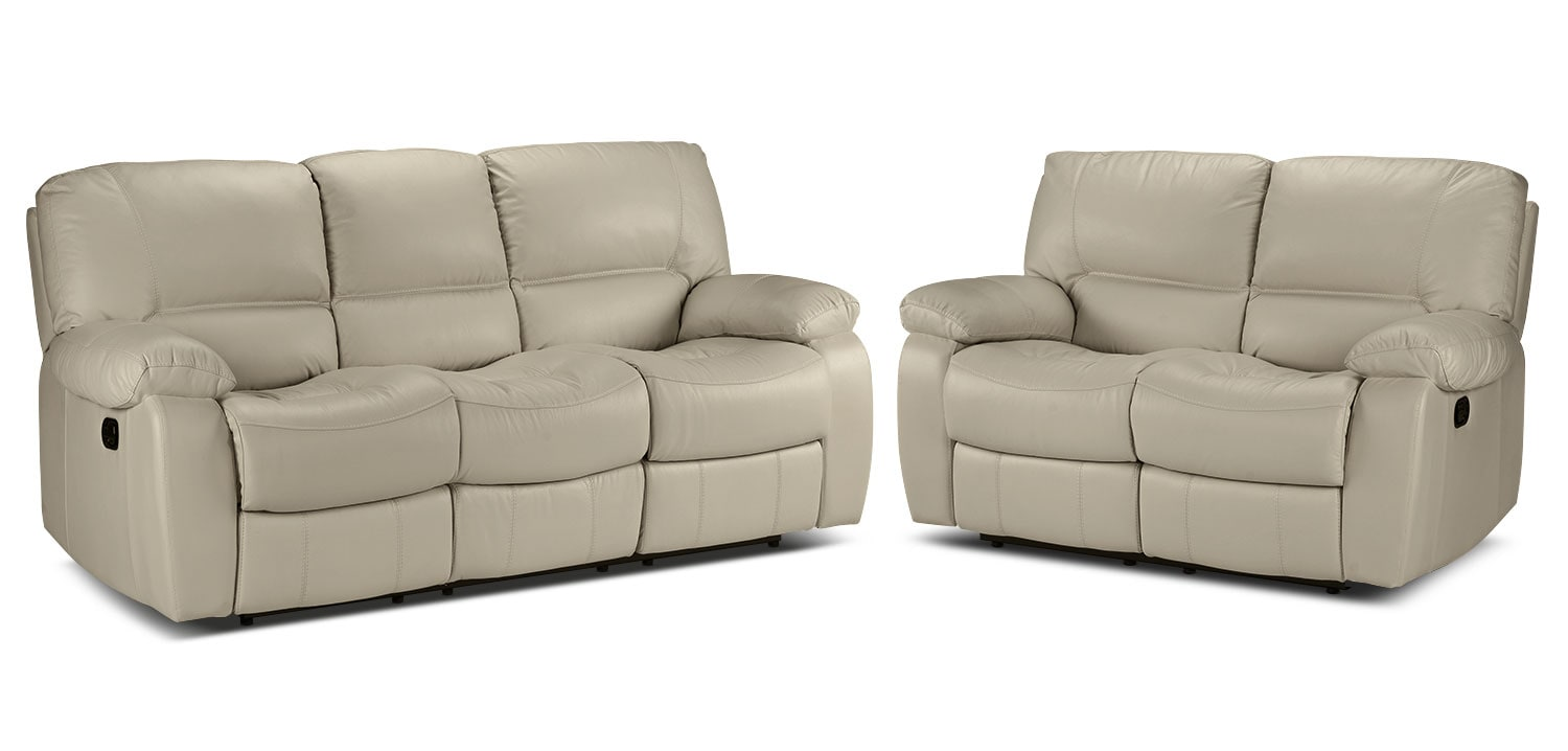 Piermont Reclining Sofa and Reclining Loveseat - Silver Grey