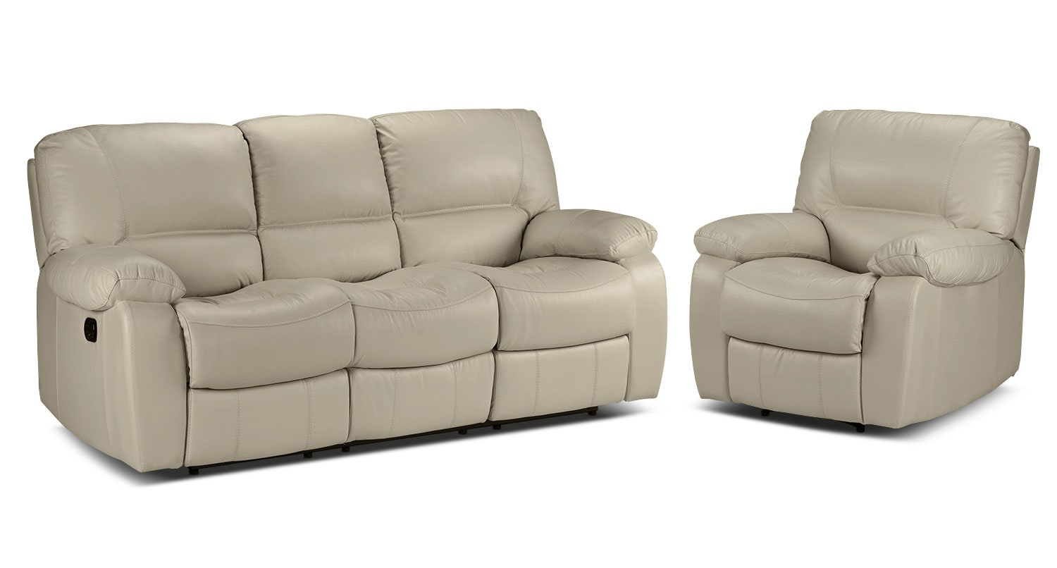 Piermont Reclining Sofa and Recliner Set - Silver Grey