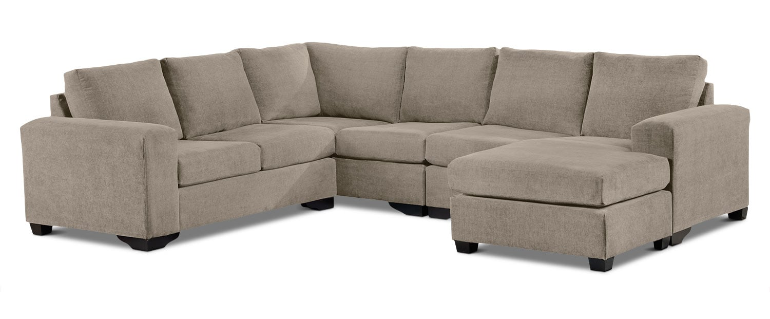 Living Room Furniture - Danielle 3-Piece Sectional with Modular Loveseat - Pewter