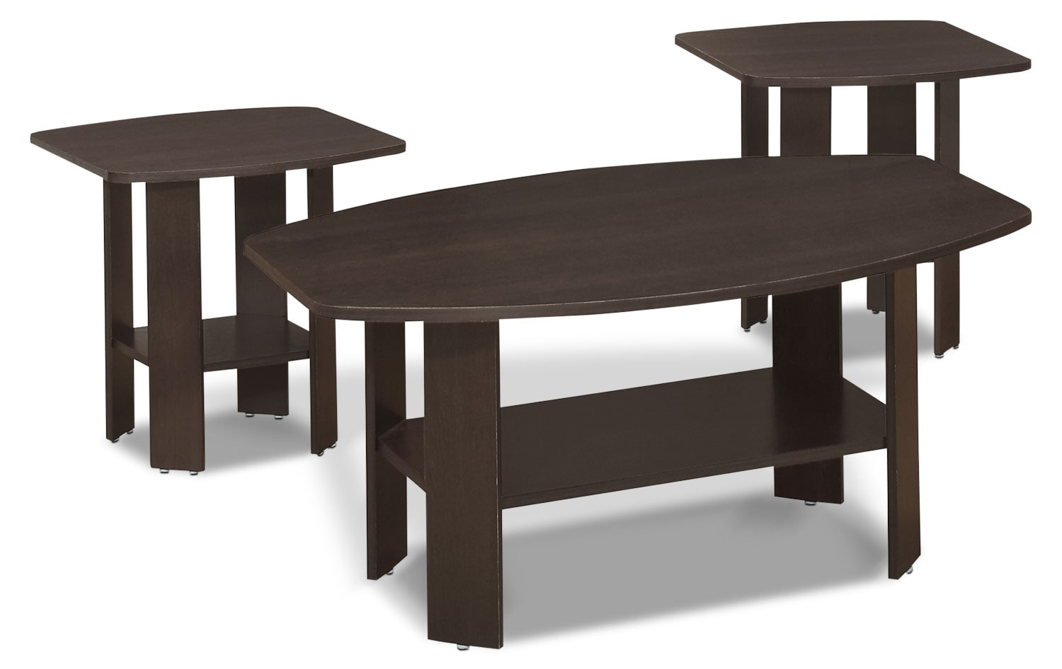 Accent and Occasional Furniture - Rosario 3-Piece Coffee and Two End Tables Package – Espresso