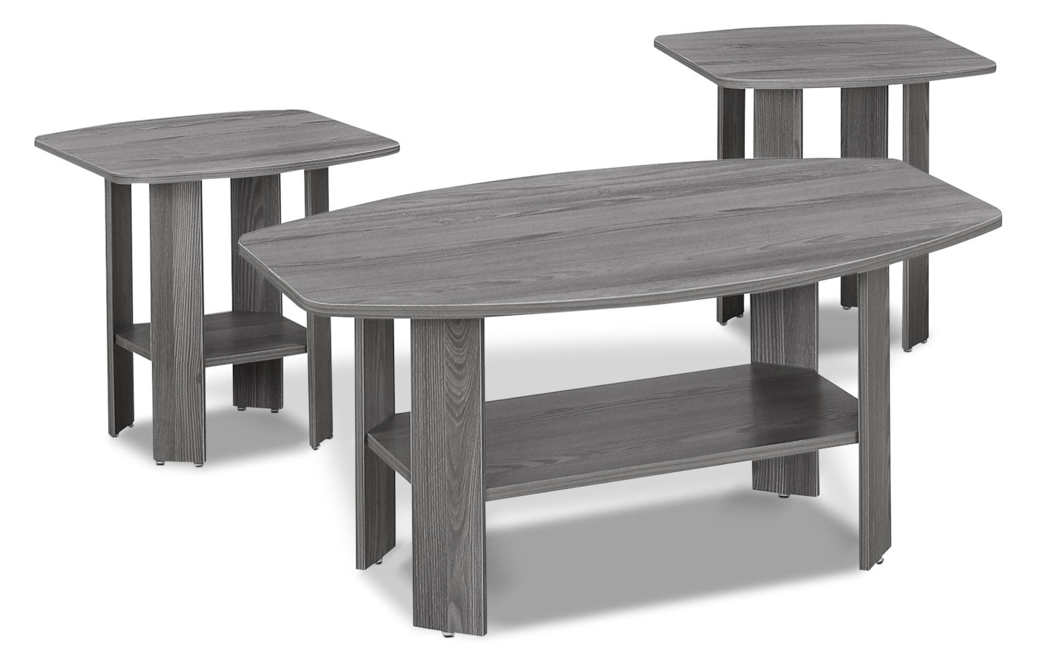 Rosario 3-Piece Coffee and Two End Tables Package – Grey