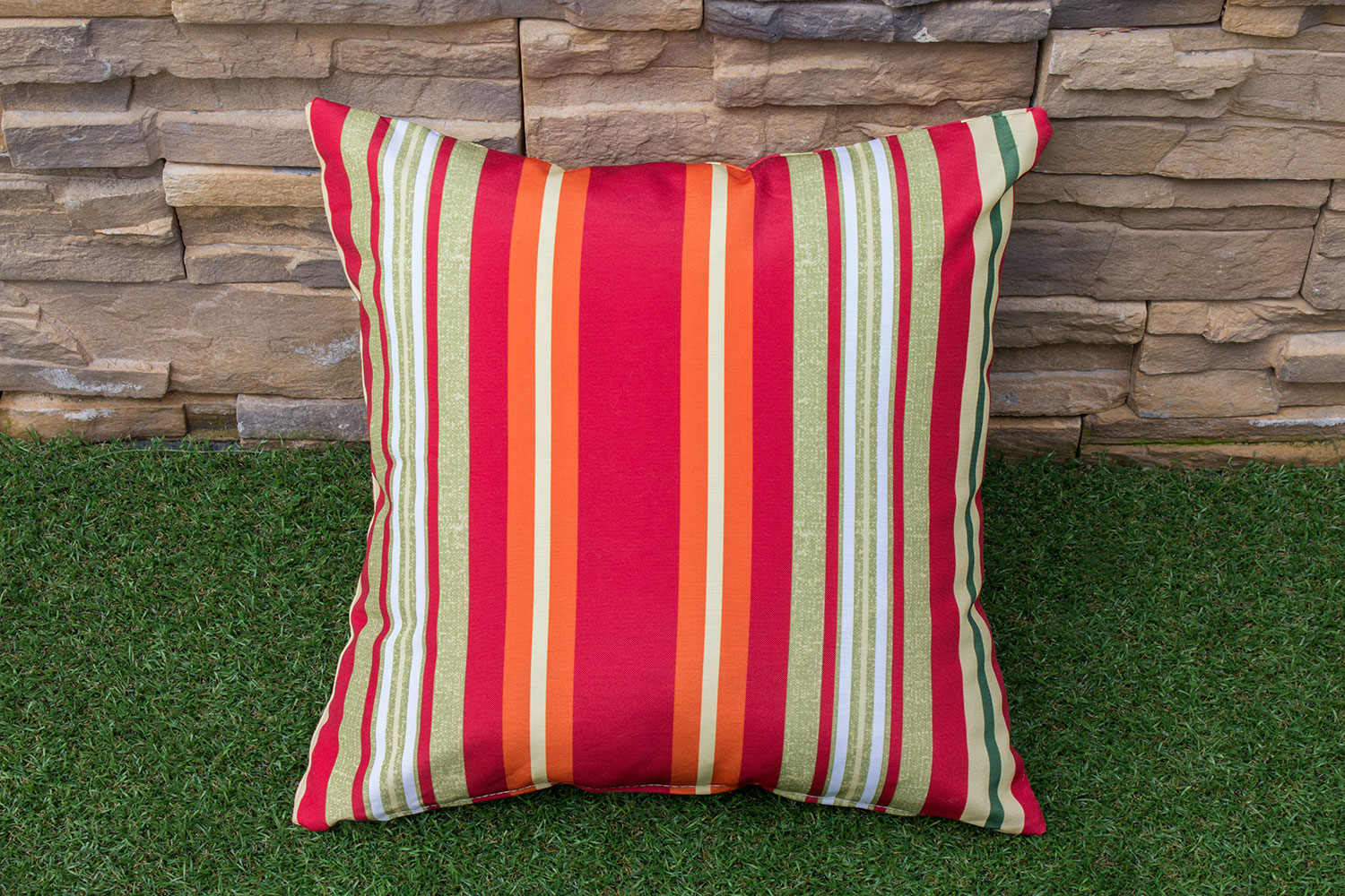 Outdoor Furniture - Shaw Square Throw Pillow- Orange Stripe