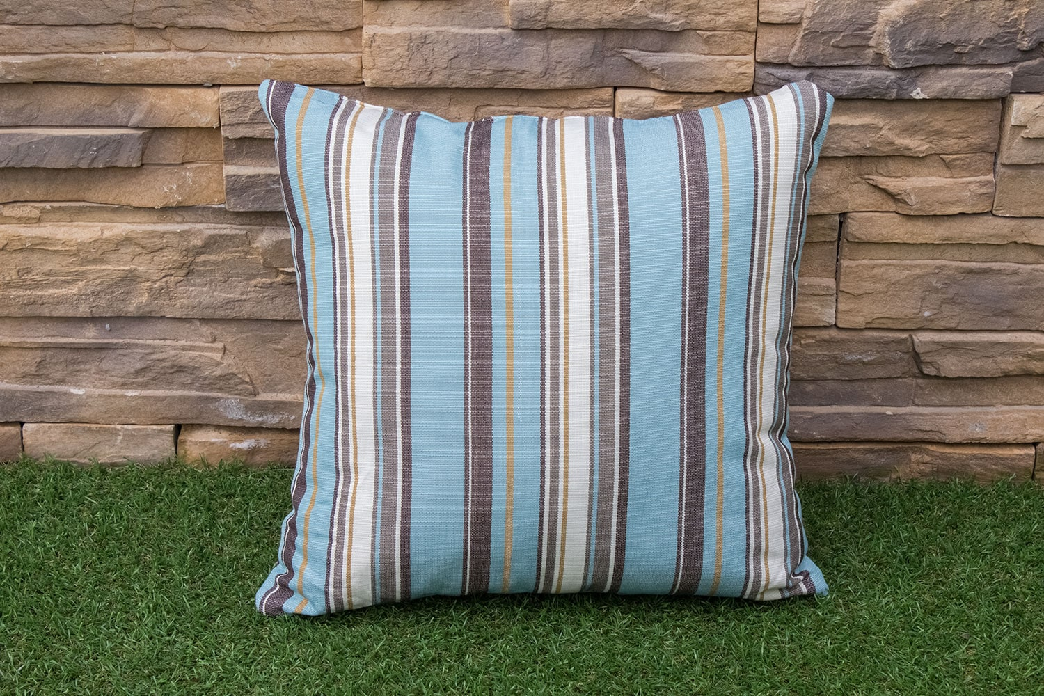 Outdoor Furniture - Shaw Square Throw Pillow - Blue Stripe
