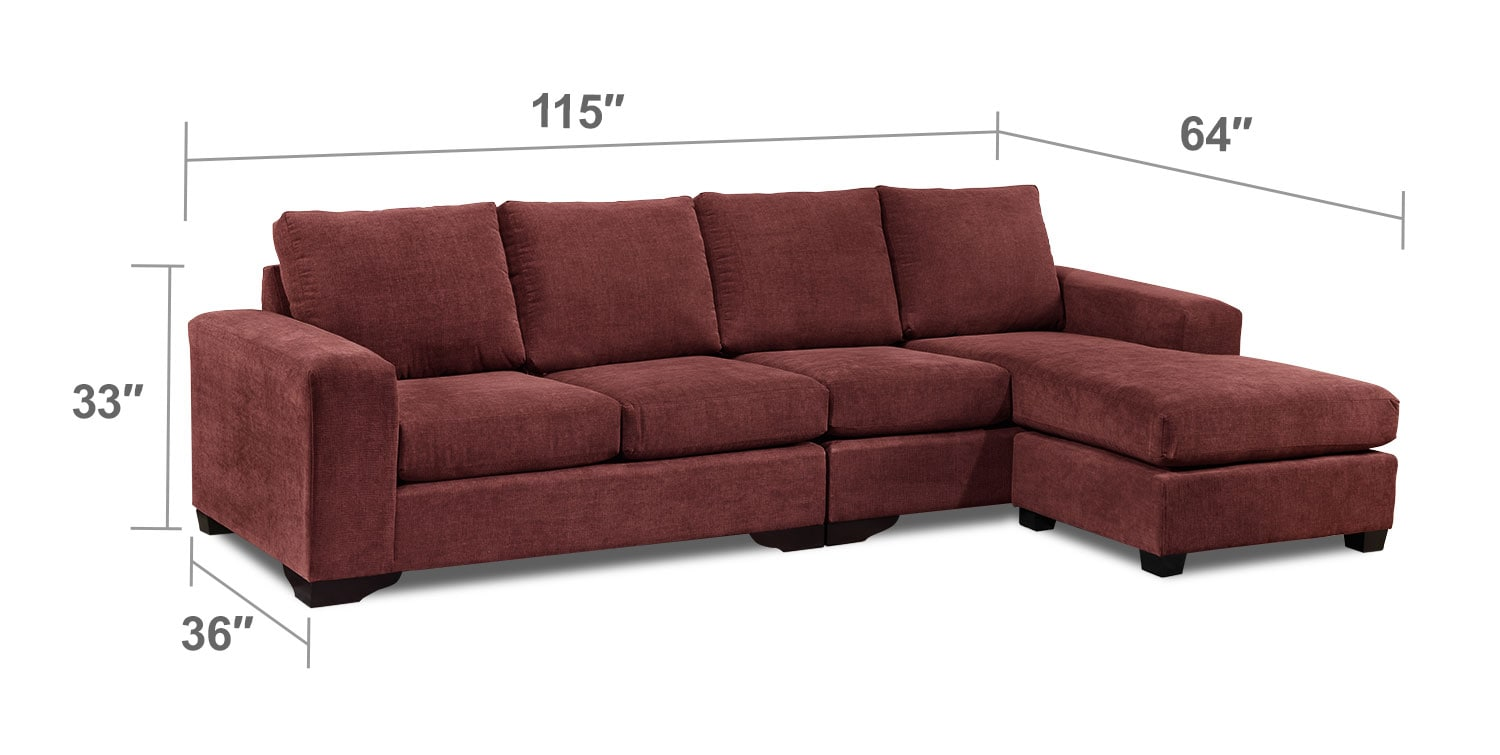 Living Room Furniture - Danielle 2-Piece Sectional - Mulberry