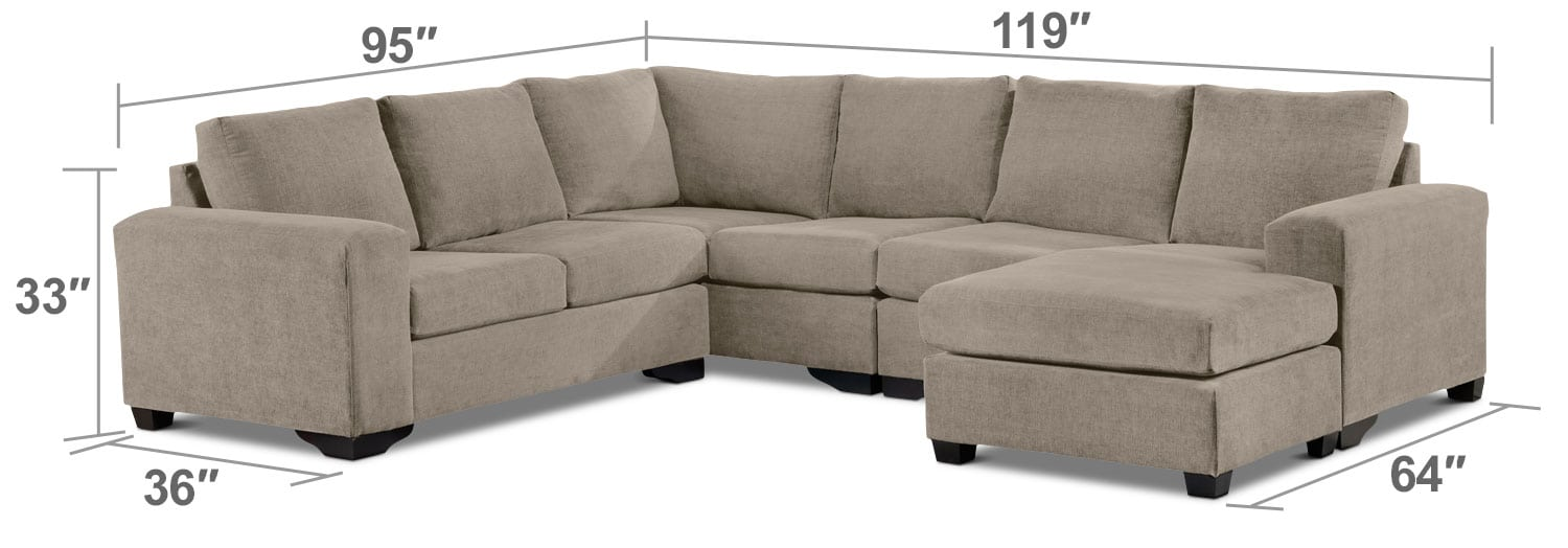 Danielle 3 Piece Sectional With Right Facing Corner Wedge