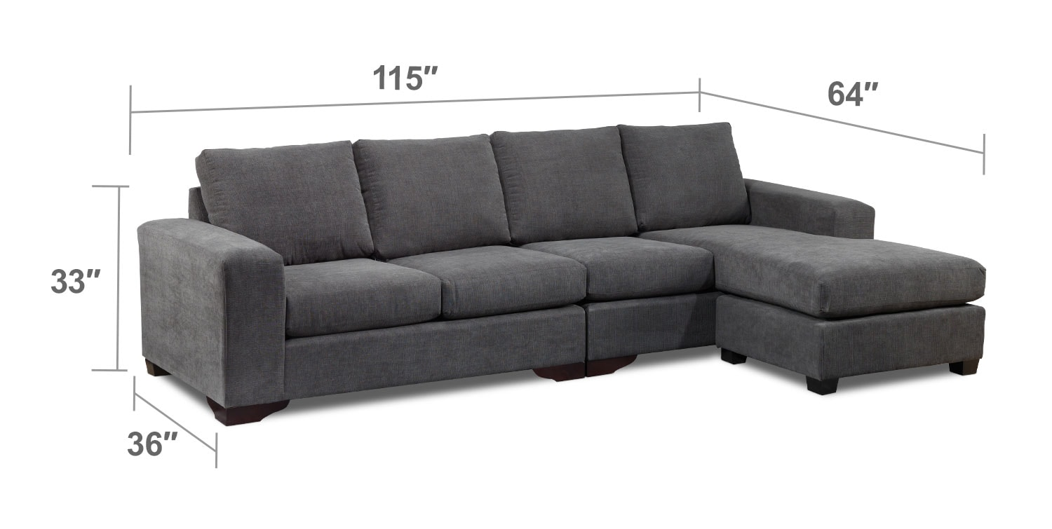 Living Room Furniture - Danielle 2 Pc. Sectional - Grey
