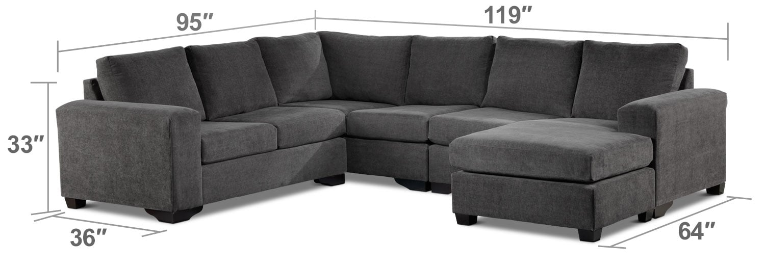 Living Room Furniture - Danielle 3-Piece Sectional with Modular Chaise - Grey