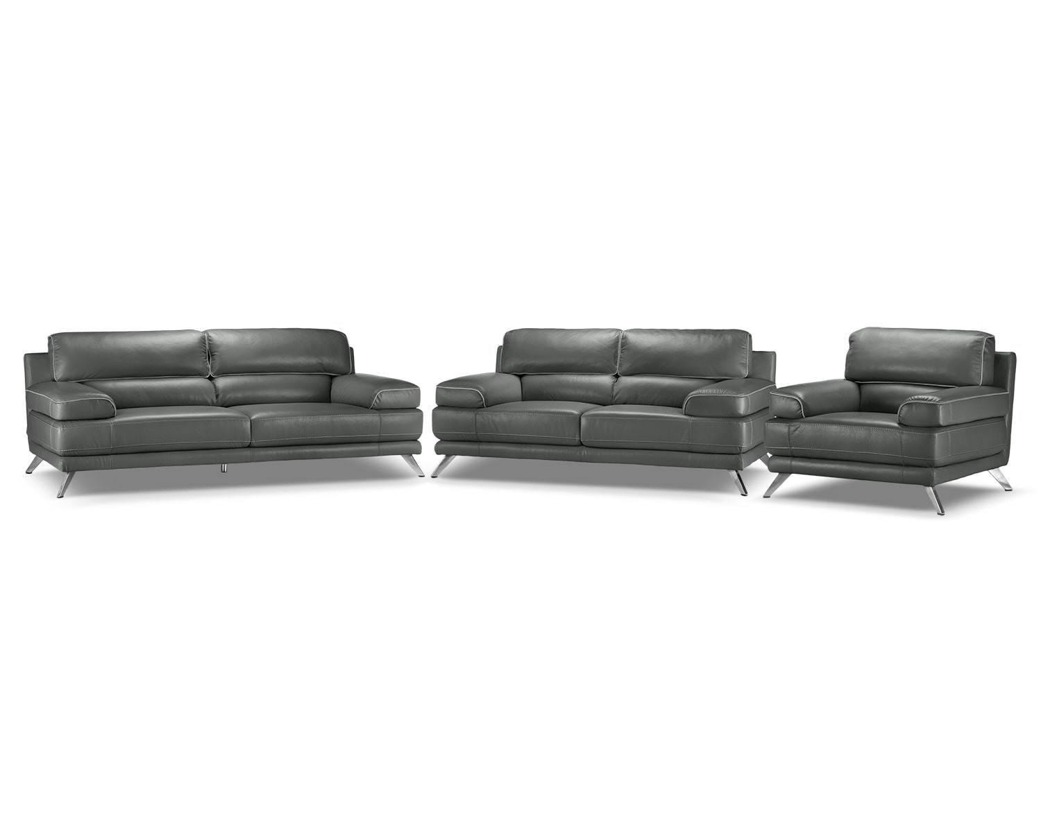 Sutton 3 Pc. Living Room Package - Charcoal Grey