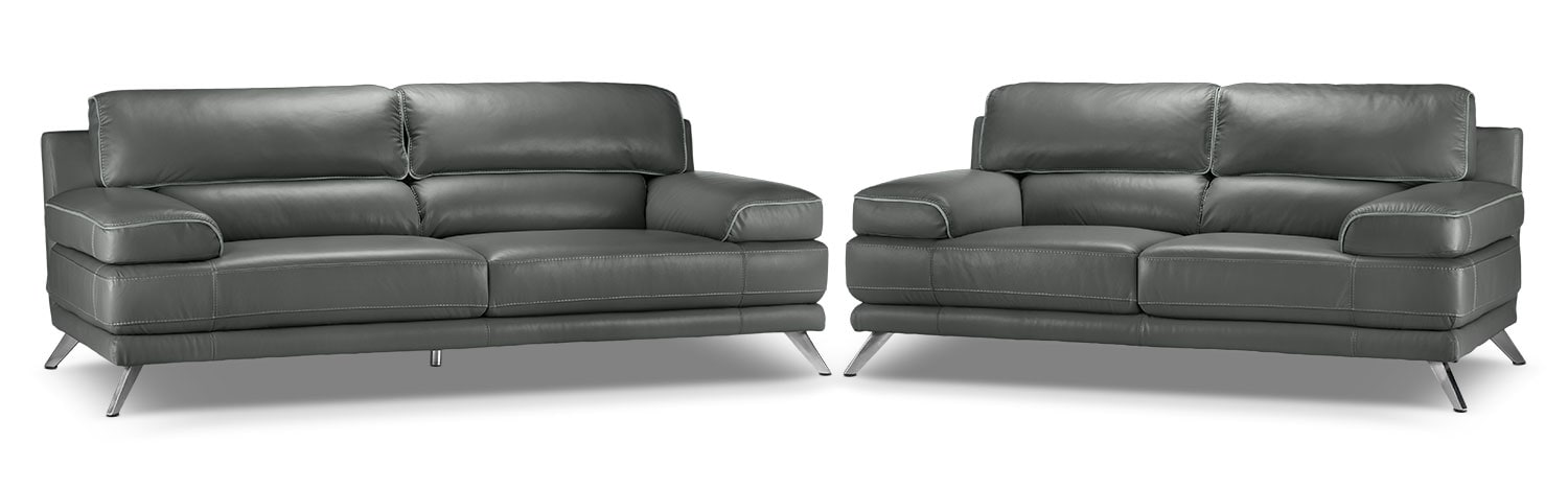 Sutton 2 Pc. Living Room Package w/ Loveseat - Charcoal Grey
