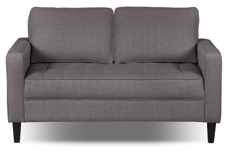 Living Room Furniture - Paris Linen-Look Fabric Loveseat – Granite