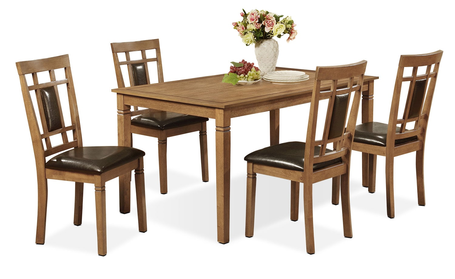 Dining Room Furniture - Aran 5-Piece Dining Package – Light Mango