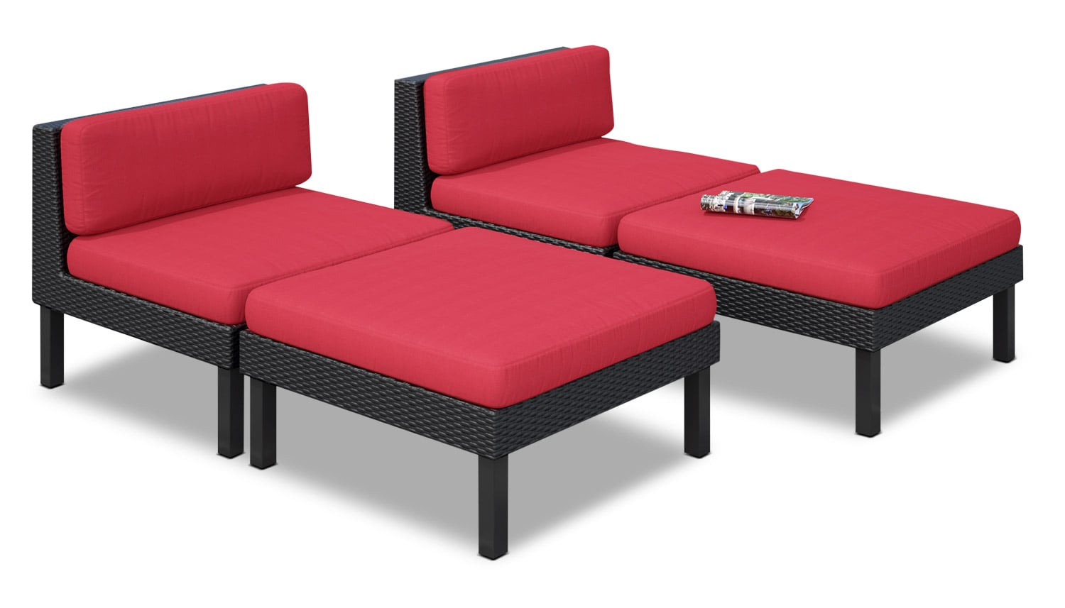 Oakland 4-Piece Lounger Set – Red