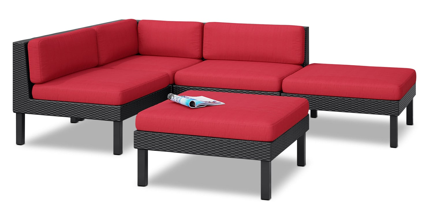 Oakland 5 Piece Patio Sectional With Chaise Red