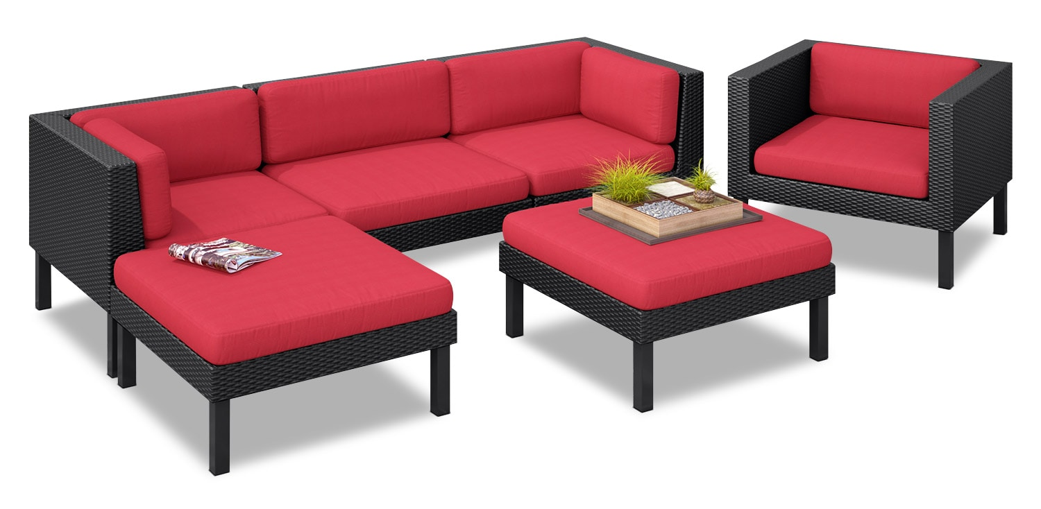 Oakland 6-Piece Patio Sectional – Red