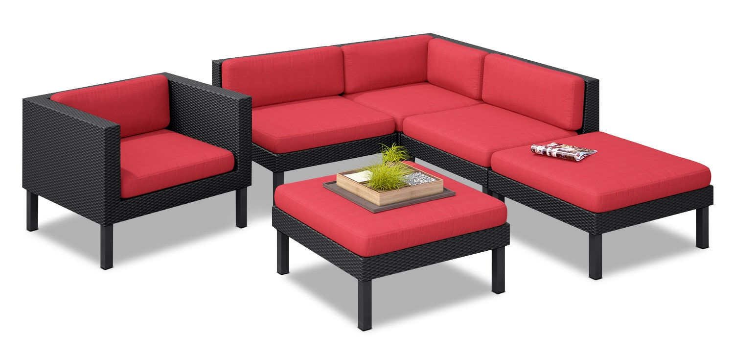 Oakland 6-Piece Patio Conversation Set – Red