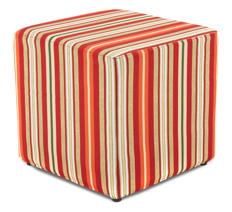 Outdoor Furniture - Sasha Outdoor Ottoman - Orange Stripe