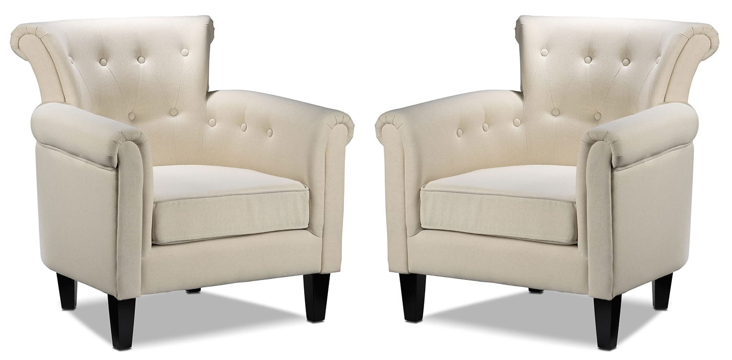 Accent and Occasional Furniture - Laurel 2-Piece Accent Chair Set - Beige