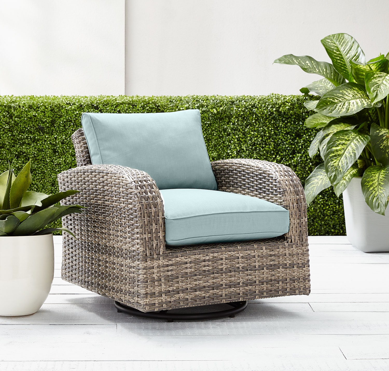 Outdoor Furniture - Marco Swivel Chair - Blue