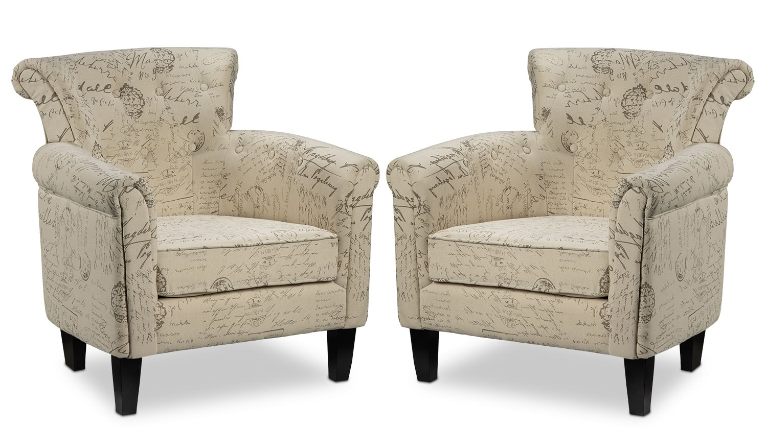 Living Room Furniture - Moniker 2-Pack of Accent Chairs - Scroll White