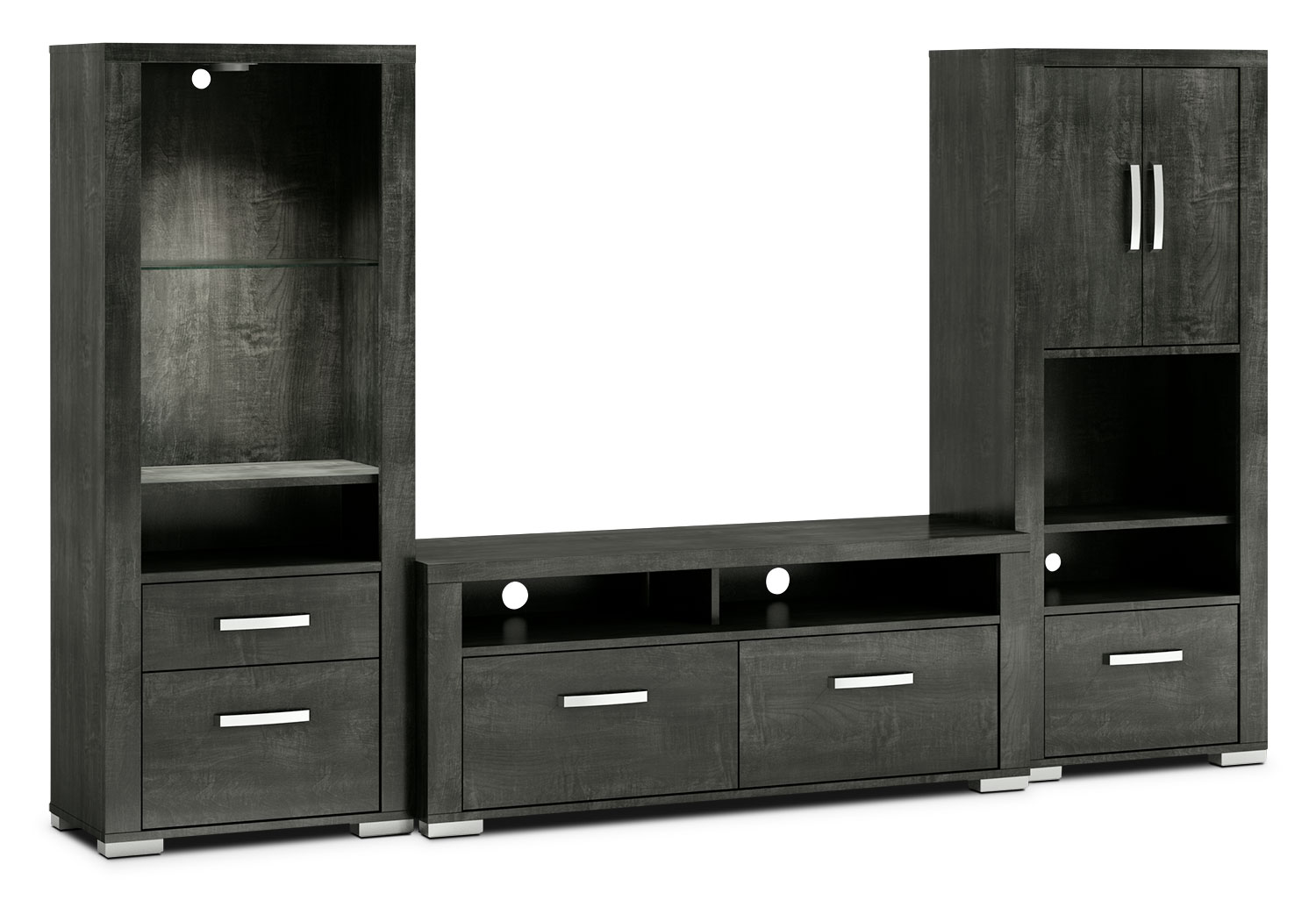 "Entertainment Furniture - Allendale 3-Piece Entertainment Centre with 56"" TV Opening, Open and Closed Piers – Anthracite"