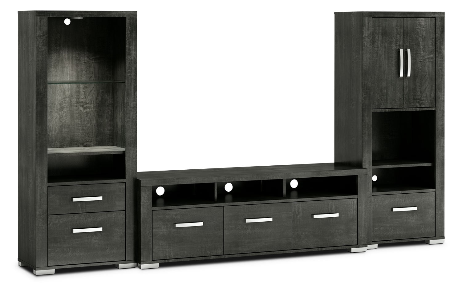 "Allendale 3-Piece Entertainment Centre with 64"" TV Opening, Open and Closed Piers – Anthracite"