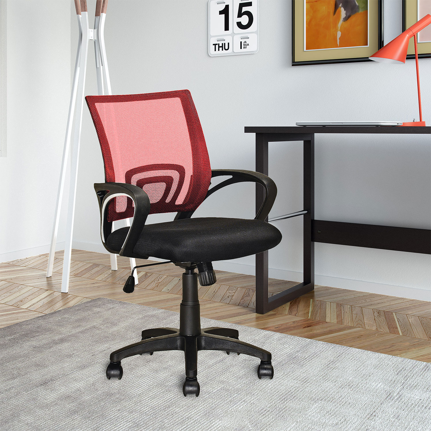 Loft Mesh Office Chair Red The Brick