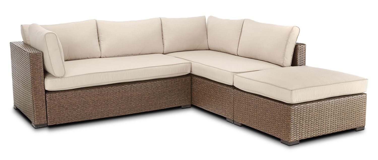 Caribe 2-Piece Outdoor Sectional and Ottoman - Beige