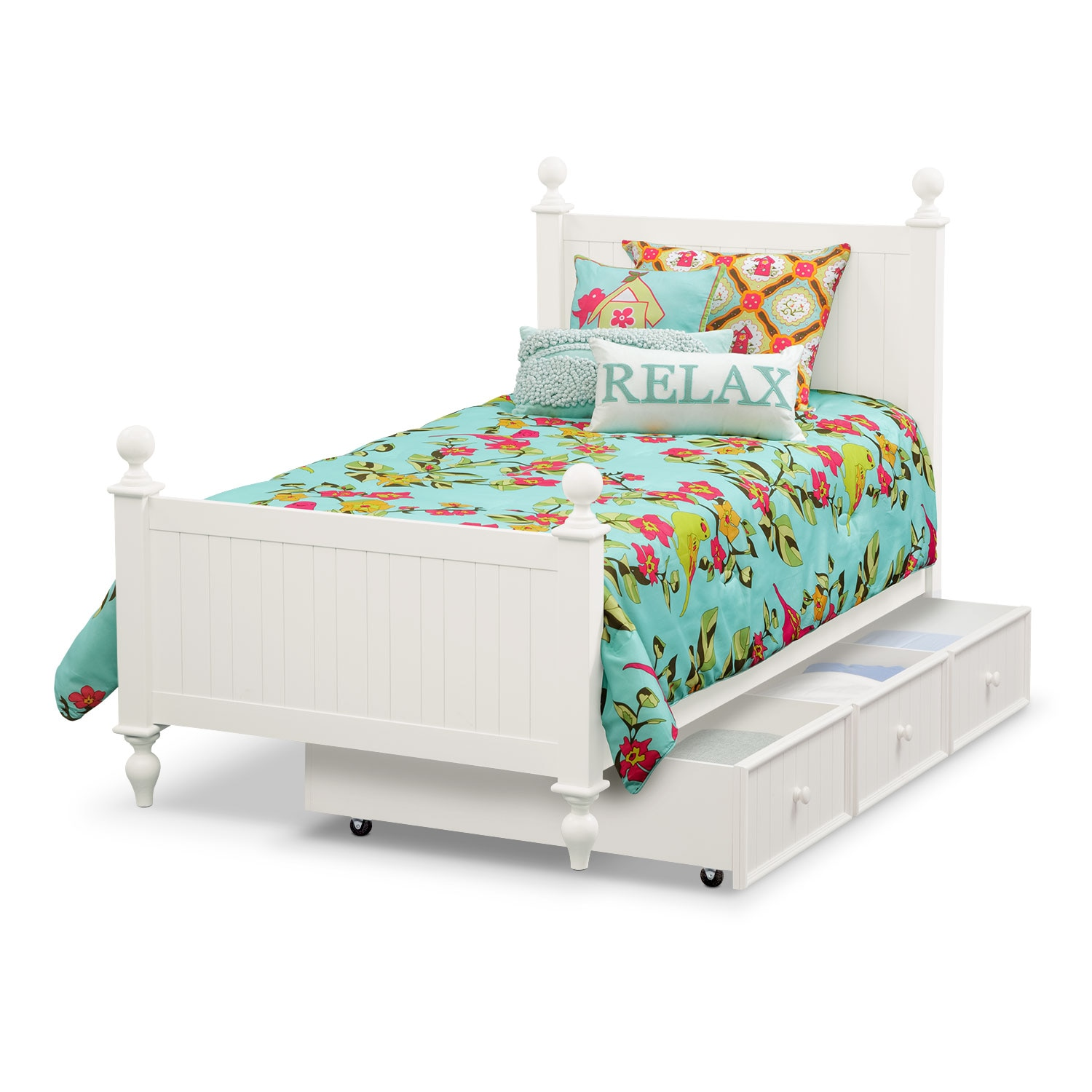 Colorworks White Twin Bed With Trundle American