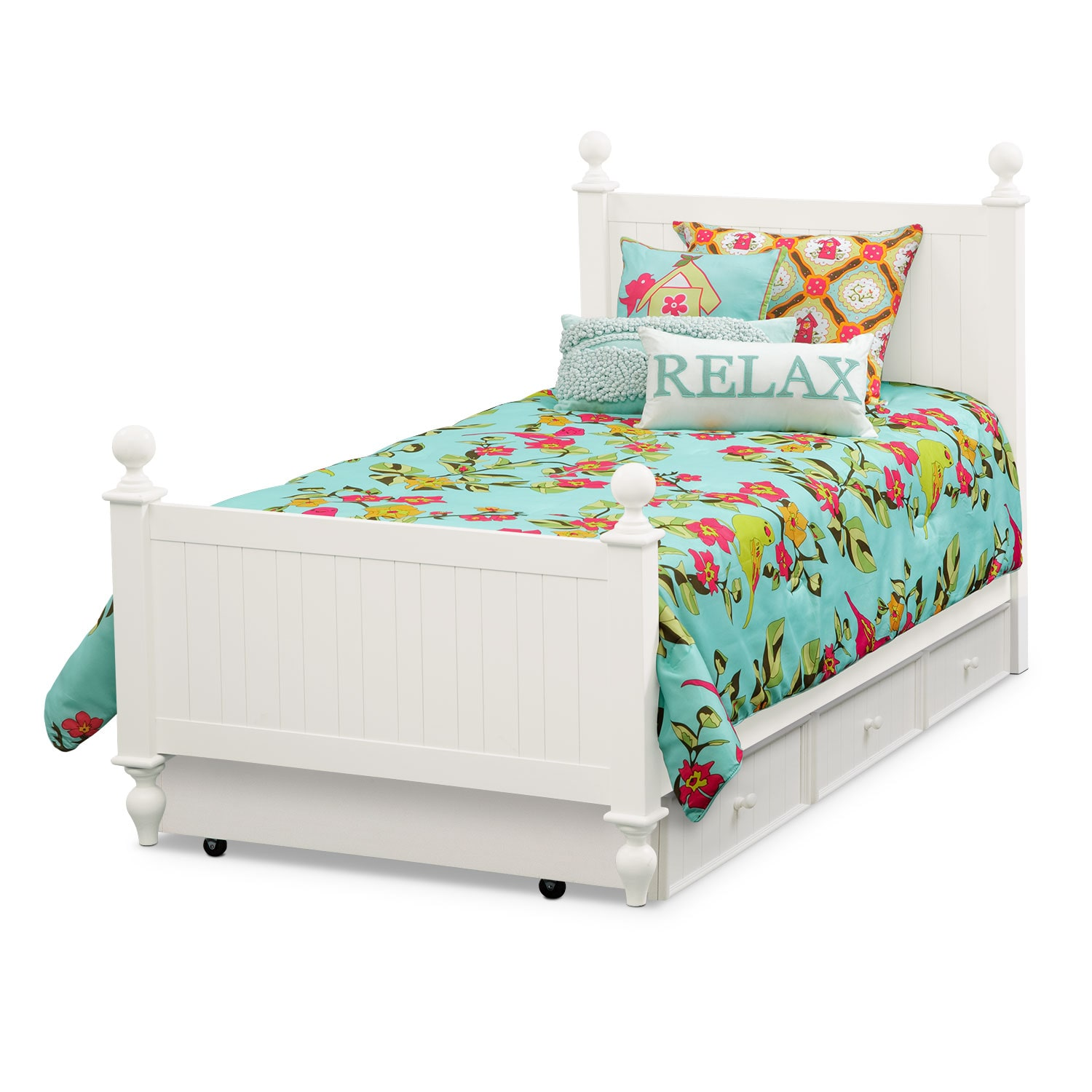 Colorworks white twin bed with trundle american for Furniture and beds