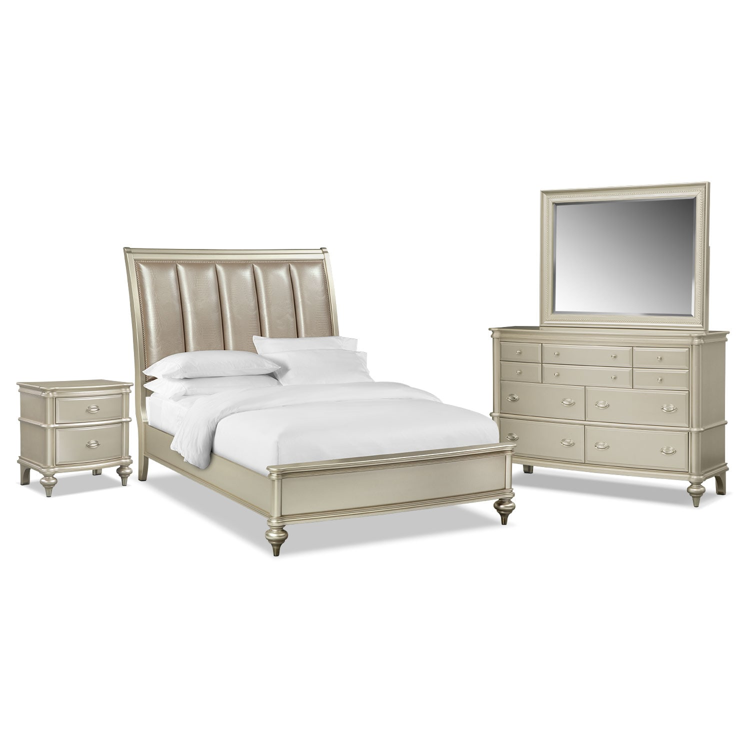 bedroom furniture esquire 6 piece queen bedroom set platinum