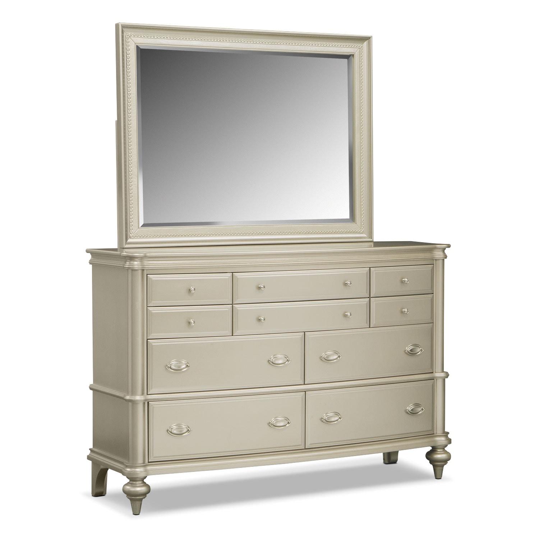 Esquire 6 Piece King Bedroom Set Platinum American Signature Furniture