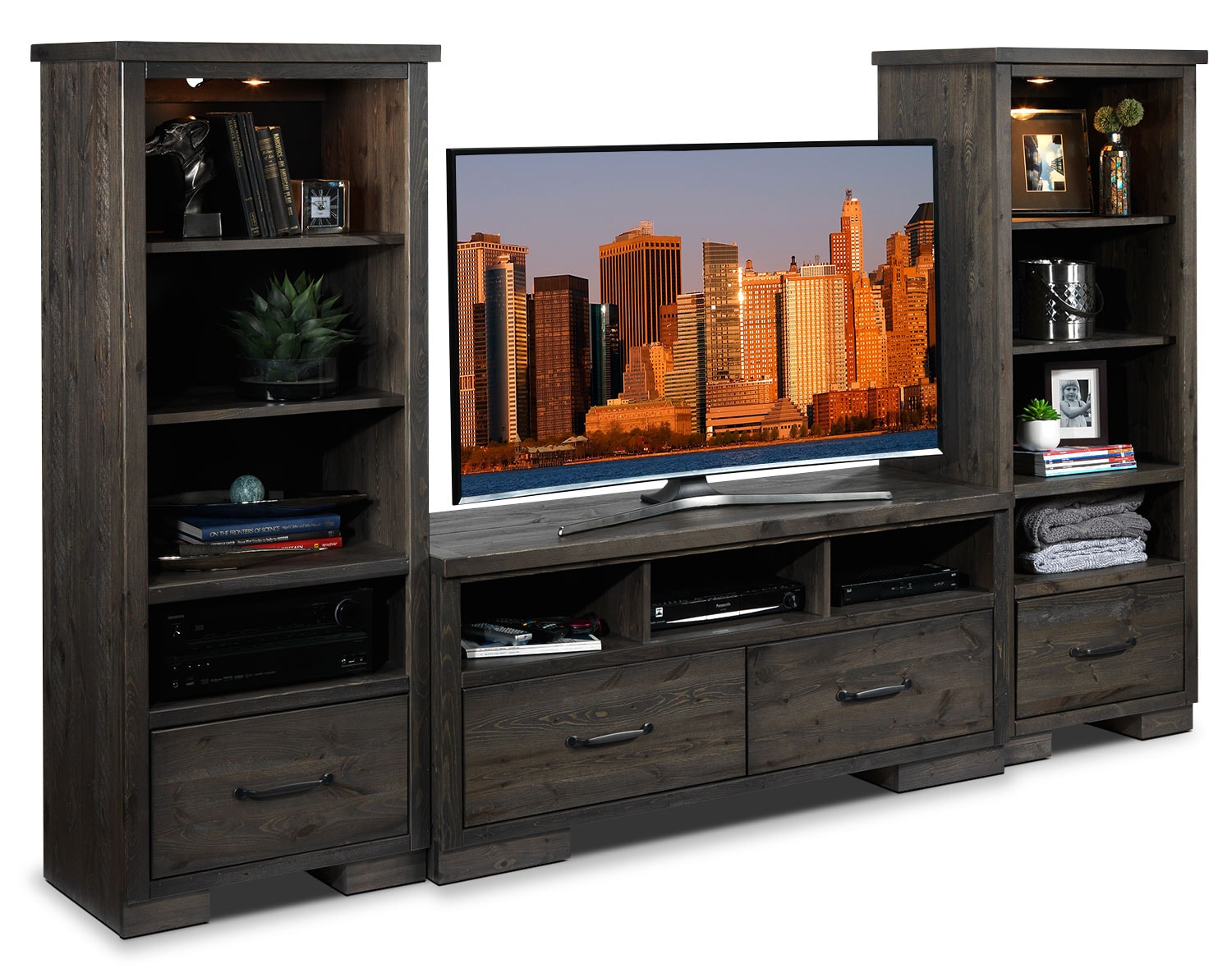 Hayden 3 piece entertainment wall unit slate leon 39 s for Meuble furniture