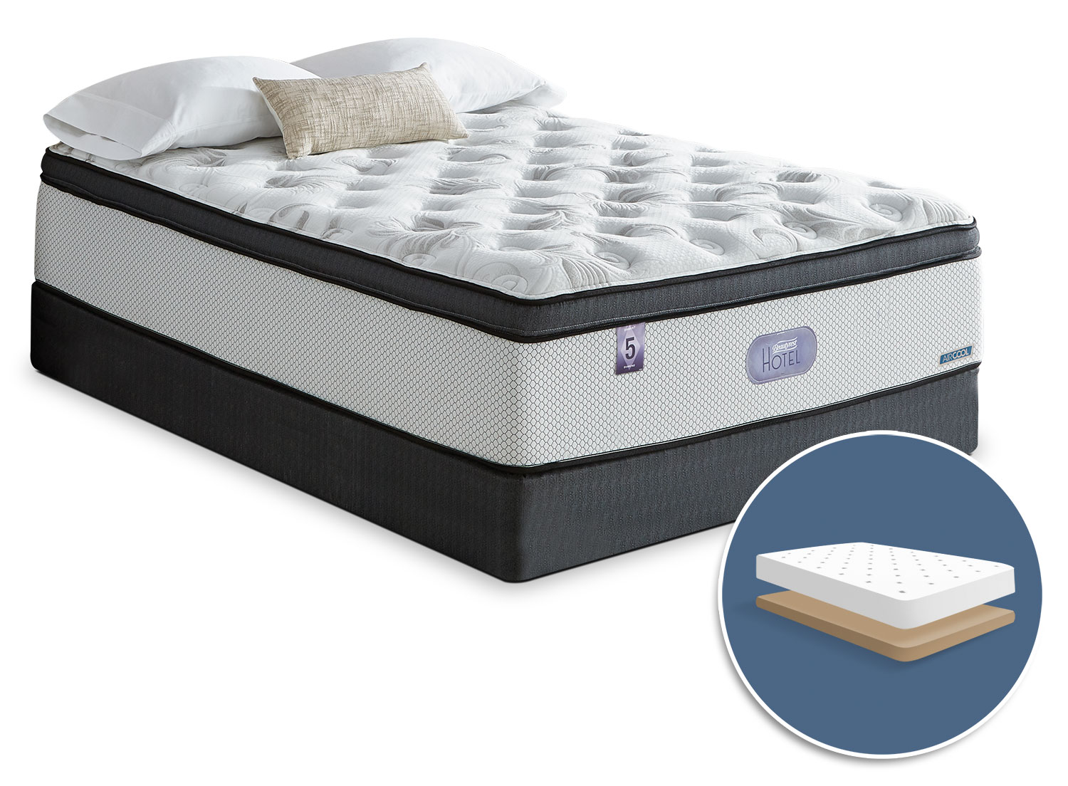 Mattresses and Bedding - Simmons Beautyrest® Hotel Diamond 5.0 Comfort Top Firm Low-Profile King Mattress Set
