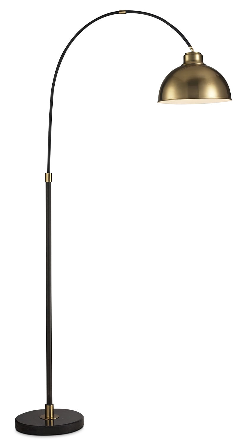 black arc floor lamp with gold metal shade united furniture. Black Bedroom Furniture Sets. Home Design Ideas