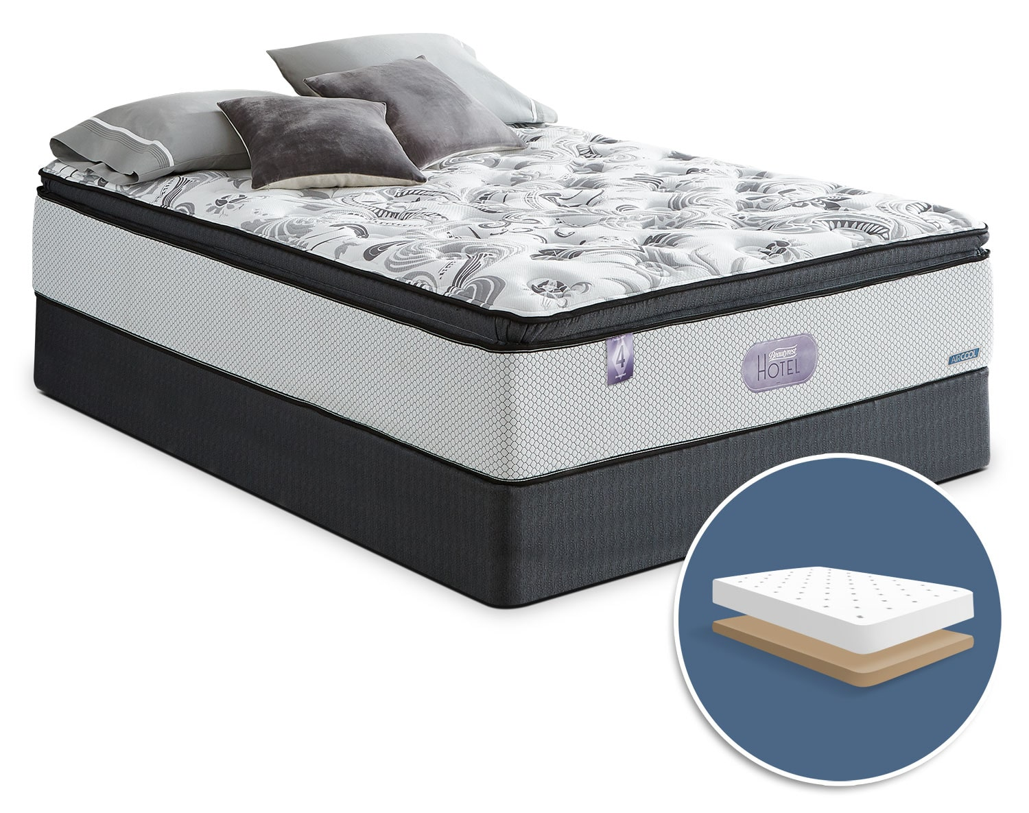 Mattresses and Bedding - Simmons Beautyrest® Hotel Diamond 4.0 Hi-Loft Pillow-Top Low-Profile Queen Mattress Set