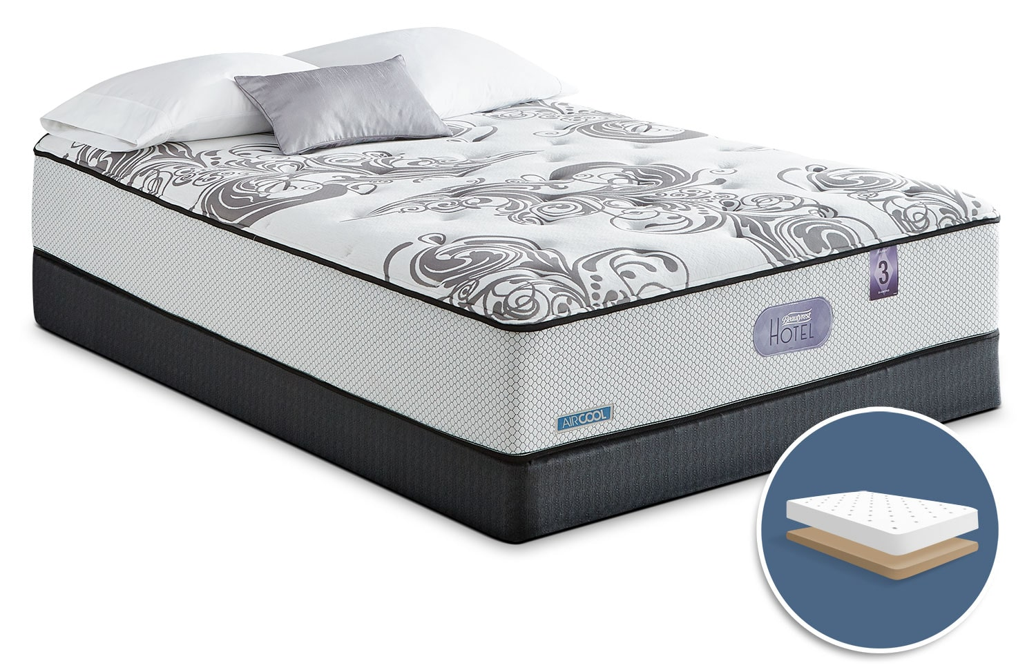 Mattresses and Bedding - Simmons Beautyrest® Hotel Diamond 3.0 Tight-Top Firm Low-Profile King Mattress Set