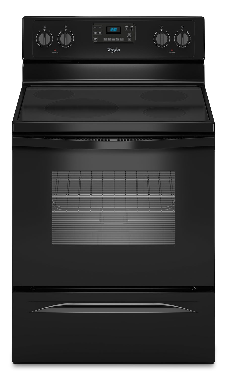 Cooking Products - Whirlpool Black Freestanding Electric Range with FlexHeat™ Element (4.8 Cu. Ft.) - YWFE330W0EB